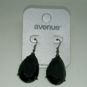 Black Rhinestone Tear Drop Dangle Earrings - JA049